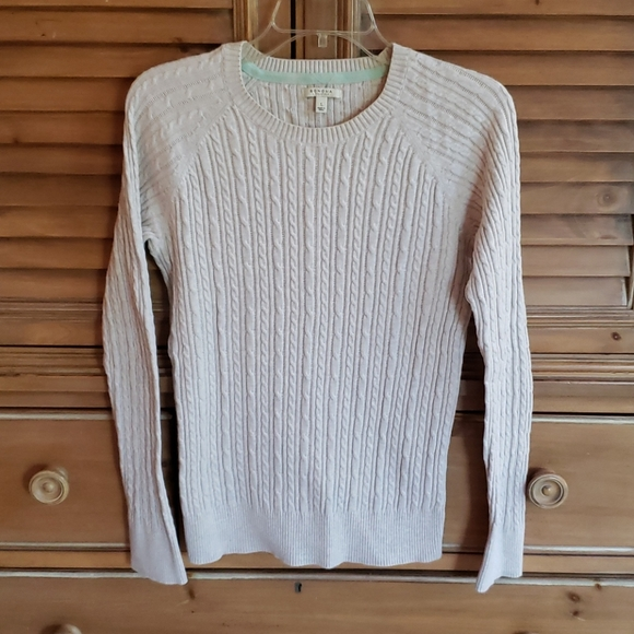 Sonoma Classic Cable Knit Cream Cotton Sweater L